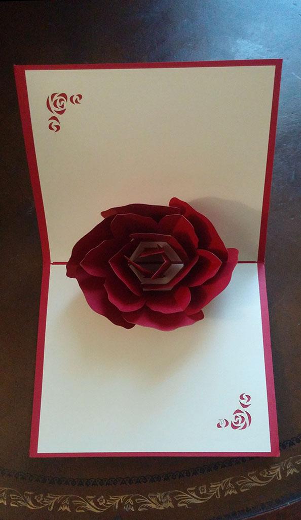 HUNGER Handmade 3D Pop Up Rose Greeting Card (Q5421)