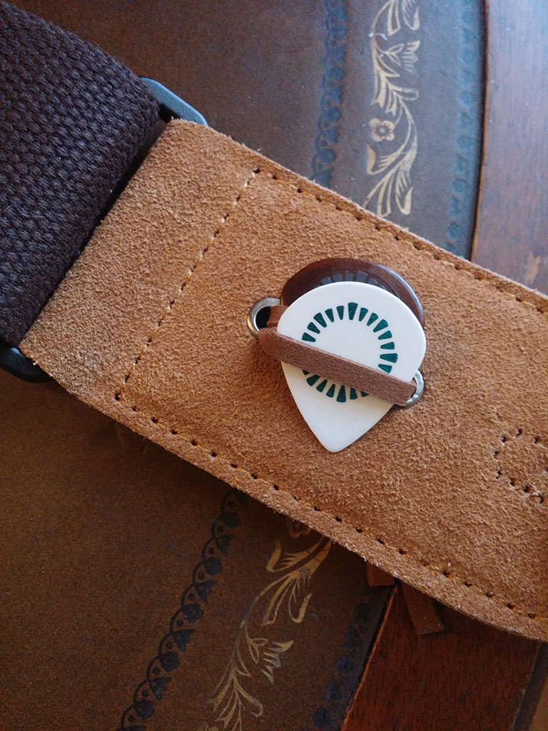 SIMTYSO GUITAR STRAP WITH LEATHER ENDS COFFEE COLOR